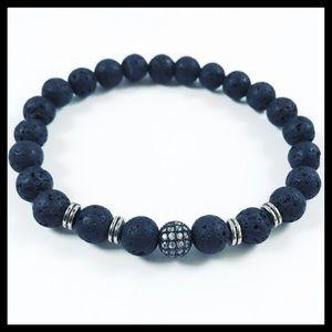 Men Lava rock black rodhium cz ball charm bracelet